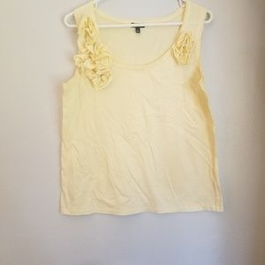 Talbots yellow top with flowers on front